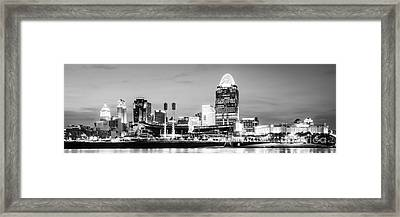 Cincinnati Skyline Black And White Panorama Photo Framed Print by Paul Velgos