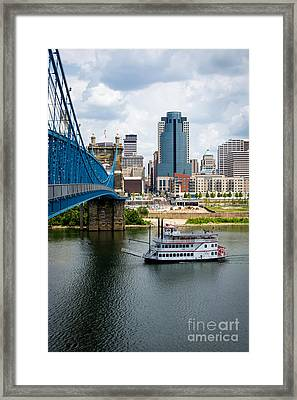 Cincinnati Skyline Riverboat And Bridge Framed Print by Paul Velgos
