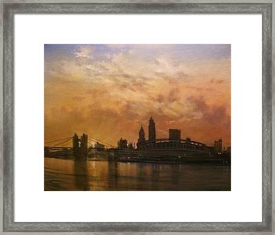 Cincinnati Skyline Framed Print by Tom Shropshire