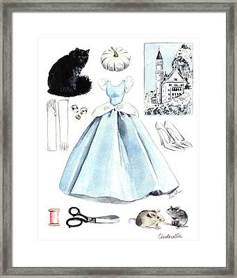 Cinderella Disney Princess Collage Castle Glass Slippers Mouse Pumpkin Cat Framed Print by Laura Row