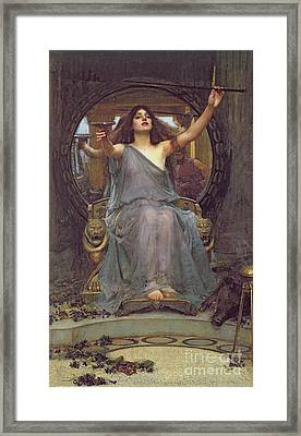 Circe Offering The Cup To Ulysses Framed Print by John Williams Waterhouse