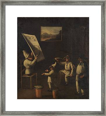 Circle Of Faustino Bocchi School Of Pulcinella Framed Print by MotionAge Designs
