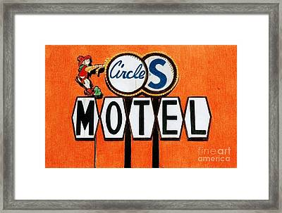 Cowboy Pencil Drawings Framed Print featuring the drawing Circle S Motel by Glenda Zuckerman