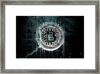 Circuit Board Projecting Bitcoin Framed Print by Allan Swart