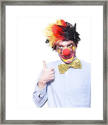 Circus Clown With Thumb Up To Carnival Advertising Framed Print by Jorgo Photography - Wall Art Gallery