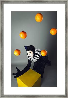 Circus Fashion Mime Juggles With Five Oranges. Photo. Framed Print by Kireev Art