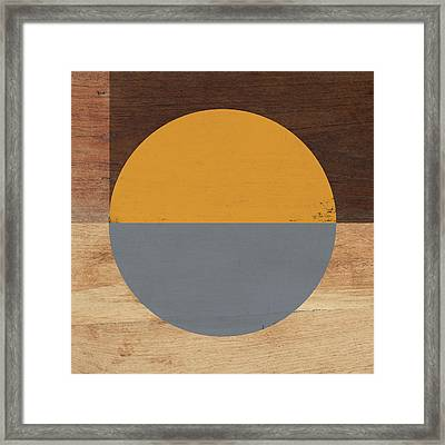 Cirkel Yellow And Grey- Art By Linda Woods Framed Print by Linda Woods