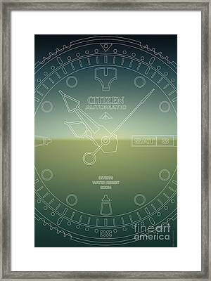Citizen Automatic Divers Watch Outline Poster Framed Print by Monkey Crisis On Mars