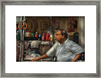 City - Ny - The Pretzel Vendor Framed Print by Mike Savad