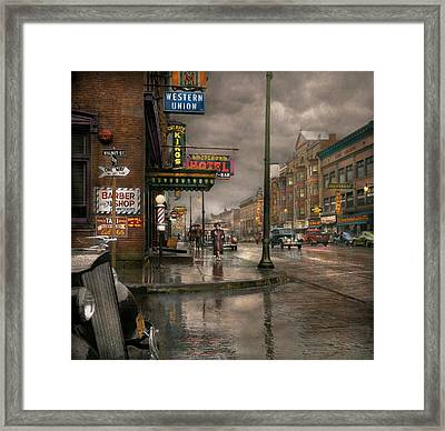 City - Amsterdam Ny -  Call 666 For Taxi 1941 Framed Print by Mike Savad