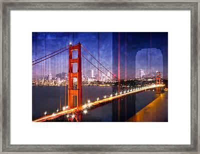 City Art Golden Gate Bridge Composing Framed Print by Melanie Viola