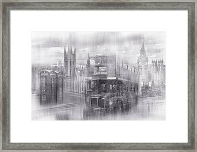 City-art London Westminster Collage Black And White Framed Print by Melanie Viola
