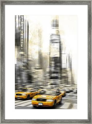 City-art Times Square Framed Print by Melanie Viola