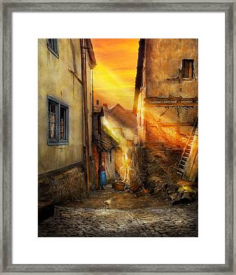 City - Germany - Alley - The Farmers Wife 1904 Framed Print by Mike Savad