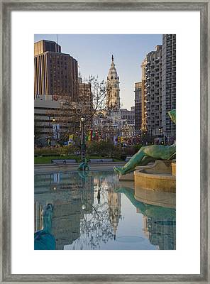 City Hall Reflecting In Swann Fountain Framed Print by Bill Cannon
