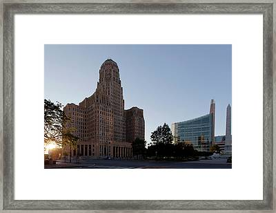City Hall Sunset Framed Print by Peter Chilelli