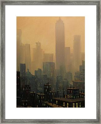 City Haze Framed Print by Tom Shropshire