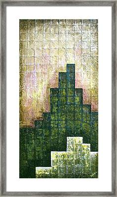 City In Green Framed Print by Shadia