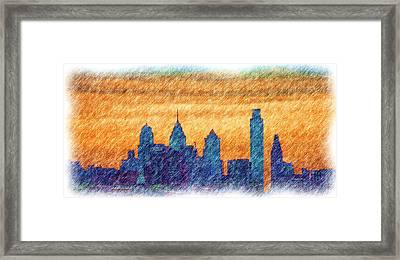 City In Pencil Framed Print by Thomas  MacPherson Jr