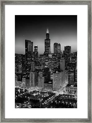 City Light Chicago B W Framed Print by Steve Gadomski