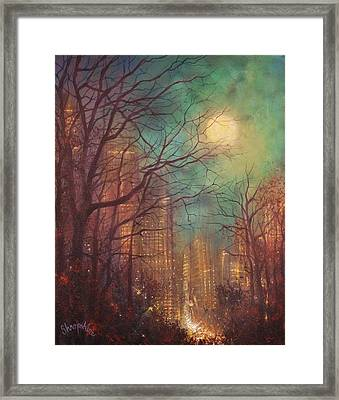 City Moon Framed Print by Tom Shropshire