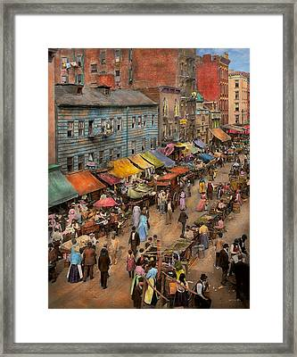 City - Ny - Jewish Market On The East Side 1890 Framed Print by Mike Savad