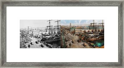 City - Ny - South Street Seaport - 1901 - Side By Side Framed Print by Mike Savad