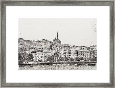 City Of Geneva Framed Print by Vincent Alexander Booth
