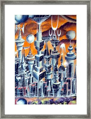 City Of Master Cyborg's Empire. Main Street  Framed Print by Sofia Goldberg