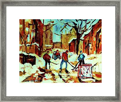 City Of Montreal Hockey Our National Pastime Framed Print by Carole Spandau