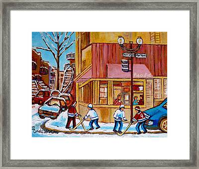 City Of Montreal St. Urbain And Mont Royal Beautys With Hockey Framed Print by Carole Spandau