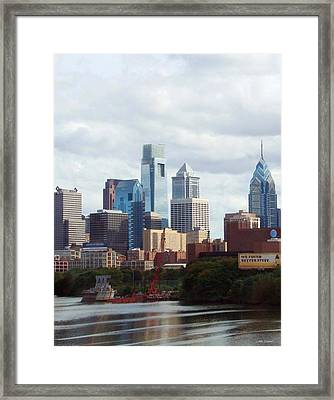 City Of Philadelphia Framed Print by Linda Sannuti