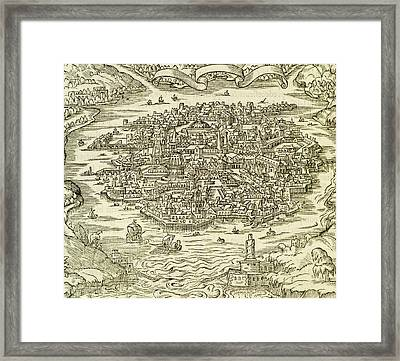 City Of Quinsai Framed Print by Andre Thevet
