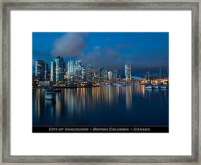 City Of Vancouver British Columbia Canada Framed Print by Movie Poster Prints