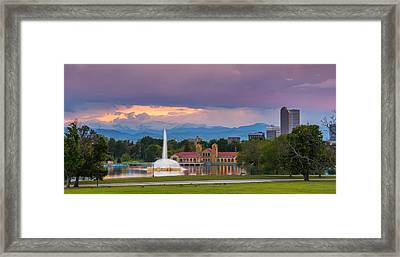 City Park Sunset Framed Print by Darren  White