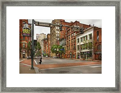 City - Pittsburgh Pa - Running Late Framed Print by Mike Savad