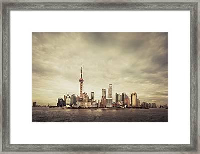 City Skyline At Sunset, Shanghai, China Framed Print by Yiu Yu Hoi