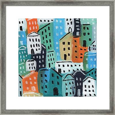 City Stories- Blue And Orange Framed Print by Linda Woods