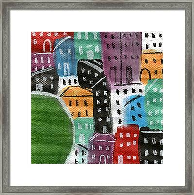 City Stories- By The Park Framed Print by Linda Woods