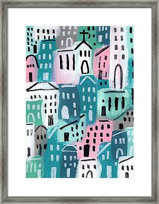 City Stories- Church On The Hill Framed Print by Linda Woods