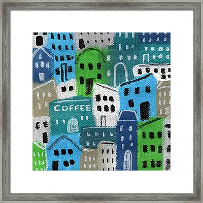 City Stories- Coffee Shop Framed Print by Linda Woods