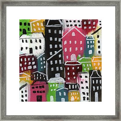 City Stories- Colorful Framed Print by Linda Woods