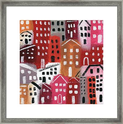 City Stories- Ruby Road Framed Print by Linda Woods