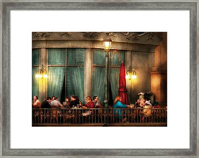 City - Vegas - Paris - The Outdoor Cafe  Framed Print by Mike Savad
