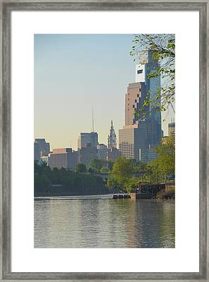 Cityhall View From The Schuylkill River Framed Print by Bill Cannon
