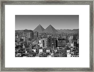 Cityscape Of Cairo, Pyramids, Egypt Framed Print by Anik Messier