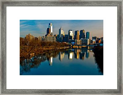 Cityscape Of Philadelphia Pa Framed Print by Louis Dallara