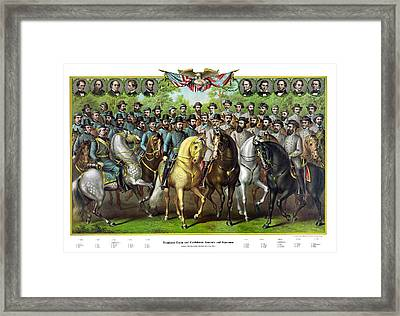 Civil War Generals And Statesman With Names Framed Print by War Is Hell Store