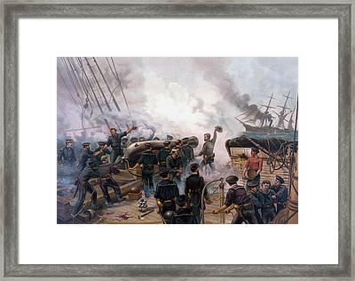 Civil War Naval Battle - Kearsarge And Alabama  Framed Print by War Is Hell Store