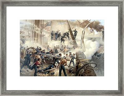Civil War Naval Battle Framed Print by War Is Hell Store